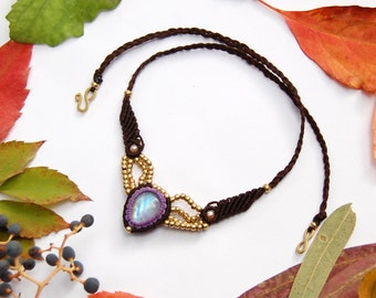 Macrame necklace MAGICAL MOONSTONE, tribal macrame with brown and purple, bohemian elegant macrame  jewelry