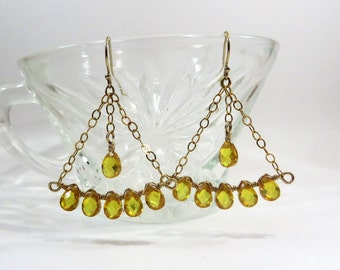 Citrine Drops and Gold Filled Chandelier Earrings