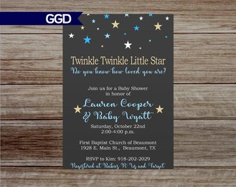 It's a Boy Baby Shower Invitation, Twinkle Twinkle Little Star Baby Shower Invite,star baby shower,boy baby shower-Printed or Digital File