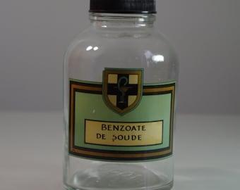 Vintage Apothecary Jar Pharmacy Bottle BENZOATE DE SOUDE