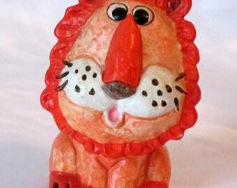 Orange Ceramic Lion Bank Enesco 1975
