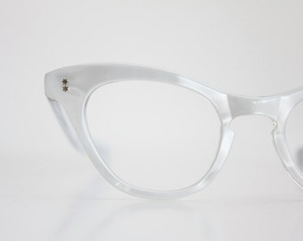 Vintage 50s Atomic  White Cat Eyeglasses Sunglass Frames