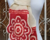Felted scarf RED ROSES - red and natural creamy white ivory merino wool - ethno motive interpretation