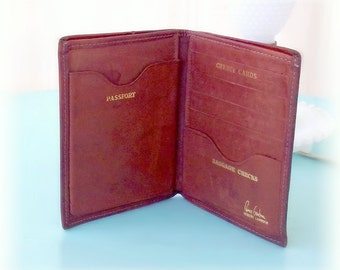 Vintage Pierre Cardin Genuine Leather Passport Wallet Holder Cover - Boho Brown, Distressed to Impress.