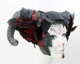Queen of Thorns Black and Red Ram Horn Vegan Costume Headdress