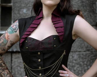 SALE Steam Punk Gothic Burelsque Full Length Victorian Steampunk Black Jacket Coat Vest