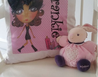 Made to Order Personalised Cushion Cover, Flower Girl, Bridesmaids, Birthday, Bride to be, Christmas, Customised Character Gift