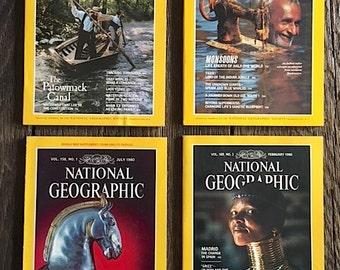 4 Vintage National Geographic Magazines 4 National Geographic Magazines From The 1980's