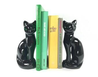 Mid Century Black Cat Bookend Set, Retro Black Cat Figurine / Statues, Mid Century Modern Shelf Decor, Gift for Cat Lovers, Bookshelf Decor