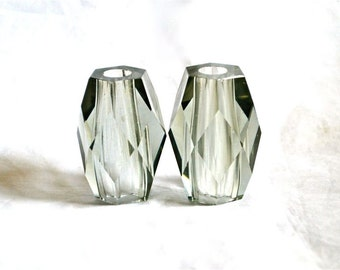 Pair Gray Glass Lamp Spacers Parts Vintage