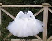 Toddler Tutu Dress Baby Girl Tutu Dress White Ivory Long Sleeve Tutu Dress Pageant Tutu Flower Girl Tutu Dress