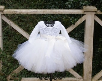 Toddler Tutu Dress Baby Girl Tutu Dress White Ivory Long Sleeve Tutu Dress Pageant Tutu Flower Girl Tutu Dress