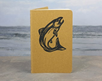 Salmon Fishing Journal - small journal with inner pocket - fish, trout gift tag. Chinook. Fisherman
