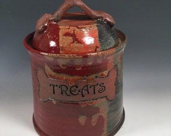 Dog Treat Jar - Pet Treat Jar - Ready to Ship - Red Jasper - Dog Bone Accent- ceramics - pottery - stoneware - pets - feeding