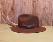 Indiana Jones Hat Brown Fedora Crushable Wool Mens Accessories Vintage 1980s 80s (P)