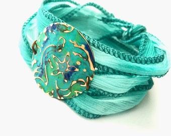 Beach Inspired Silk Wrap Bracelet