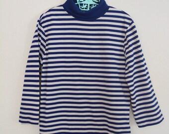 Boys Vintage Shirt 70s/80s Navy Striped Halloween Costume