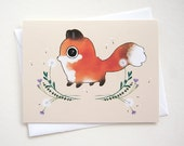 Fox Card - First Day of Fall - Blank Card - Birthday, Thank you, Anniversary, New baby