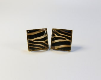 Zebra Print Earrings  --  Gift for Her Jewelry Gold Silver Animal Print Square Earrings