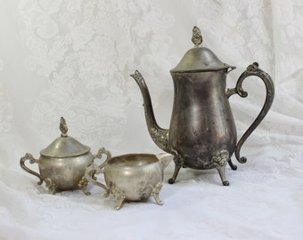 Silverplate  Coffee/ Tea Set with creamer and lidded sugar bowl- Antique / Vintage- Shabby Chic -3 piece Set- Made in China