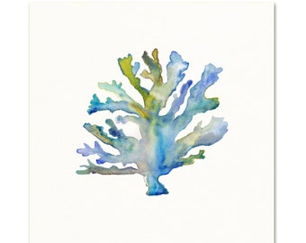 Coral Watercolor Print.  Coastal Art.  Beach Decor.