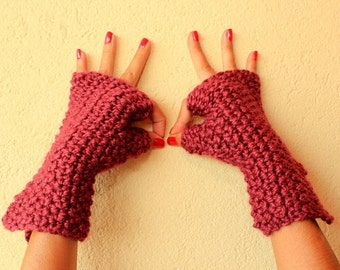 Knit Fingerless Gloves, Knit Gloves, Burgundy Wool Gloves, Chunky Arm Warmers, Thick, Warm Hand Warmer Gift For Her Winter Women Accessories