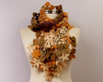 Long Flower Scarf, Crochet Scarf, Lace Scarf, Fall Colors Leaf Scarf, Mustard Yellow Brown Beige Neck Warmer Women Fashion Accessories