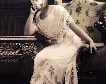 Morticia, Gothic Cat Print, Halloween Decor, Sphynx Cat, Anthropomorphic, Altered Photo, Creepy Art, Photo Collage Art, Unique Cat Art