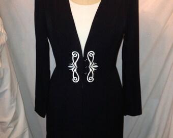 Black and White Blazer Dress By Dawn Joy Fashions Size 7/8 ss10
