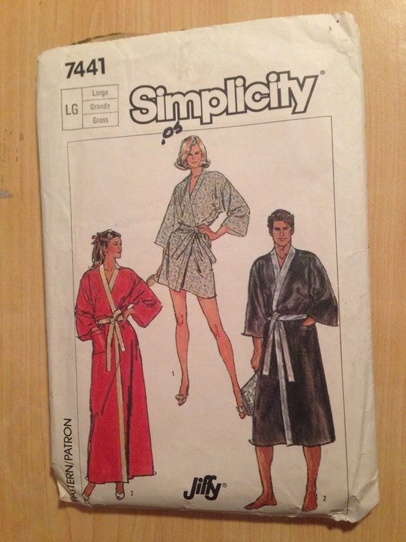 Simplicity 7441 Sewing Pattern 80s Mens Jiffy Kimono Robe in Two Size 42-44