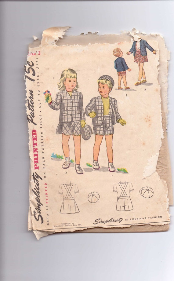 Simplicity Sewing Pattern 1201 40s Brother and Sister Suit and Hat Size 3