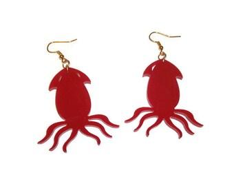 Squid Earrings Red Squid Dangle Earrings Kraken Jewelry Laser Cut Acrylic Perspex Quirky Animal