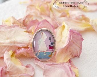 Retro Bride Statement Ring -Hazel's Departure- 50s Bride Silver Picture Ring Miniature Artwork