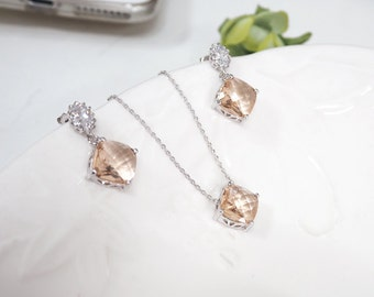 Bridesmaid gift set- champagne necklace, peach necklace,cubic zirconia earring, glass stone, Bridesmaid gifts, champagne earring