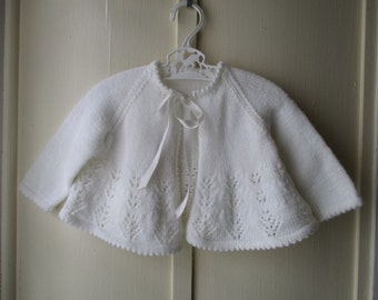 Vintage handknit pearly white baby sweater / newborn soft white cardigan sweater 0 to 6 months