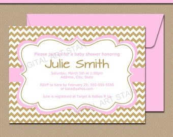 Girl Baby Shower Invitation Template - Pink and Gold Baby Shower Invitation - Printable Baby Shower Sign - Pink and Gold Invites GPCD