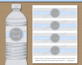 Boy Baby Shower Water Bottle Labels Instant Download - Printable Boy Baby Shower Water Bottle Wraps - Blue Grey Baby Shower Decorations BB1