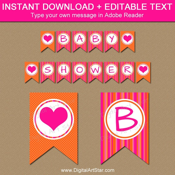 Baby Shower Banner Instant Download Hot Pink And Orange Baby