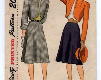 "1940's Simplicity Two-Piece Bolero Suit pattern - Bust 33"" - No. 1741"