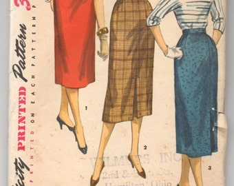 "1950's Simplicity Straight Skirt Pattern - Waist 25"" - No. 1345"