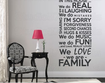 Family Rules Vinyl Wall Decal | House Rules | In This House We Do | Subway Art | Family Rules Wall Art | Family Vinyl Wall Quote