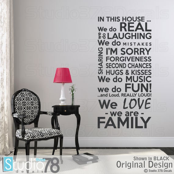 Family Rules Vinyl Wall Decal House Rules In This House We - House rules wall decals