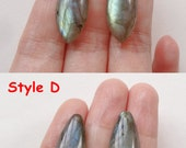 Flashy Labradorite Smooth Marquise Drops with drilled hole 10x25x6 mm One Pair K6523