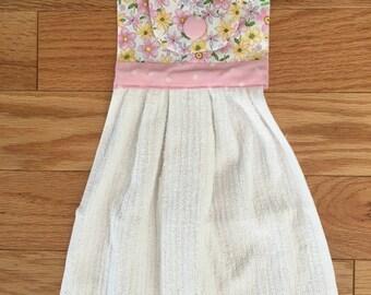 colgando la toalla de cocina toalla decorativa toalla amarillo y rosa ropa de