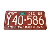 Antique License Plate - Vintage 1965 Wisconsin License Plate - Wis Barn Red Plate - America's Dairyland License Plate - Auto License Tag