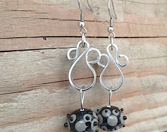 Black lampwork glass earrings