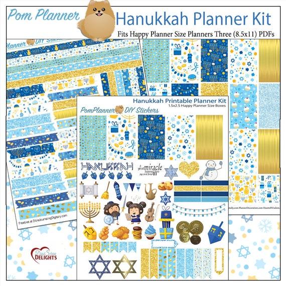 Hanukkah Printable Planner Kit  Happy Planner size 1.5x2.5 Boxes Blue & Gold 3 PDFs Start of David Menorah