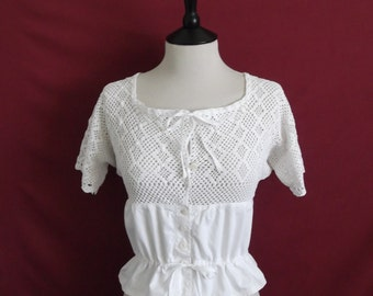 """For 25% off use coupon 'SALE25' - Edwardian Camisole Early 1910s Restored Vintage Cotton with Crochet Yoke and Short Sleeves- Bust 32"""""""