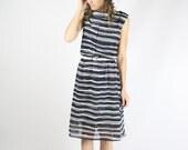 Vintage Black White Striped Dress, Monochrome Chiffon Retro Day dress, Medium Large