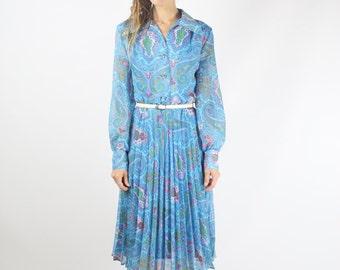 70s Paisley Shirt Dress, Blue Chiffon pleated midi Long sleeve dress Shirtwaist dress Day dress Hostess dress, Medium
